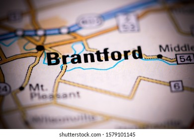 Brantford. Canada on a map