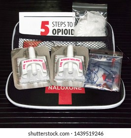 Brantford, Ontario / Canada - July 1 2019  Naloxone kit with nasal delivery method of Narcan distributed by healthcare professionals to help combat opioid crisis & reverse effects of opioid overdose