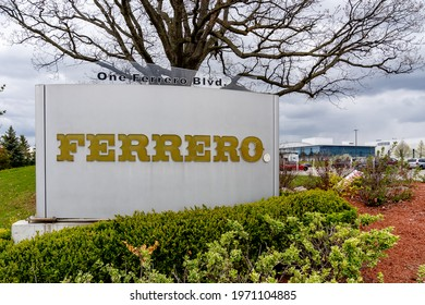 Brantford, Ontario, Canada - May 8, 2021: Ferrero Canada Cocoa Plant,  Brantford, Ontario, Canada. Ferrero Group is an Italian manufacturer of branded chocolate and confectionery products.