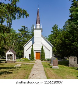 Brantford, Ontario - June 8, 2018: Mohawk Chapel, Her Majesty's Royal Chapel of the Mohawks, one of the oldest protestant churches in Ontario, constructed in 1785.