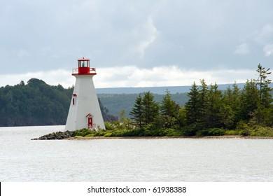 Bras D'Or lake lighthouse near Baddeck, Cape Breton, Nova Scotia