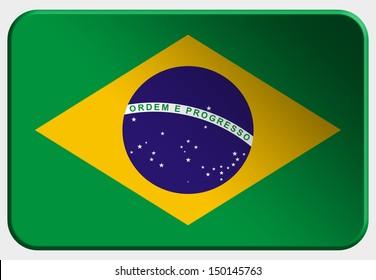 Brasil 3D button on white background