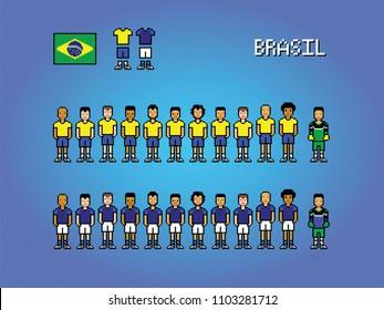 Brasil football team pixel art soccer game illustration