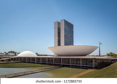 Brasilia, Brasil - Aug 24, 2018: Brazilian National Congress - Brasilia, Distrito Federal, Brazil
