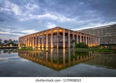 Brasilia, Brasil - Aug 26, 2018: Itamaraty Palace Illuminated at night - Brasilia, Distrito Federal, Brazil