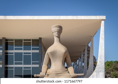 Brasilia, Brasil - Aug 26, 2018: The Justice Sculpture in front of Brazil Supreme Court (Supremo Tribunal Federal - STF) - Brasilia, Distrito Federal, Brazil