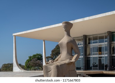Brasilia, Brasil - Aug 26, 2018: The Justice Sculpture in front of Brazil Supreme Court (Supremo Tribunal Federal - STF) - Brasilia, Distrito Federal, Brazil