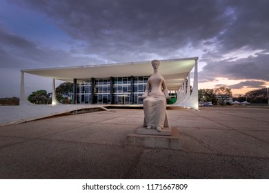 Brasilia, Brasil - Aug 26, 2018: Brazil Supreme Court (Supremo Tribunal Federal - STF) at night - Brasilia, Distrito Federal, Brazil