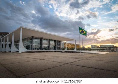 Brasilia, Brasil - Aug 26, 2018: Brazil Supreme Court (Supremo Tribunal Federal - STF) at sunset - Brasilia, Distrito Federal, Brazil