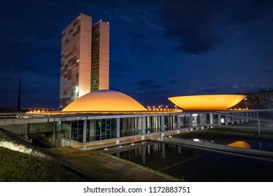 Brasilia, Brasil - Aug 26, 2018: Brazilian National Congress at night - Brasilia, Distrito Federal, Brazil