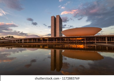 Brasilia, Brasil - Aug 26, 2018: Brazilian National Congress at sunset - Brasilia, Distrito Federal, Brazil