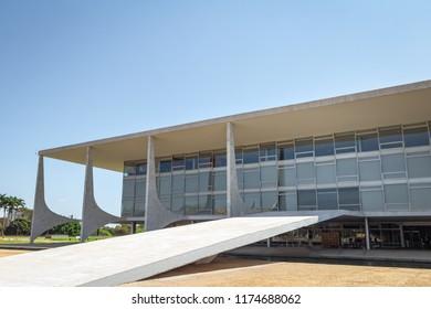 Brasilia, Brasil - Aug 26, 2018: The Ramp of Planalto Palace - Brasilia, Distrito Federal, Brazil