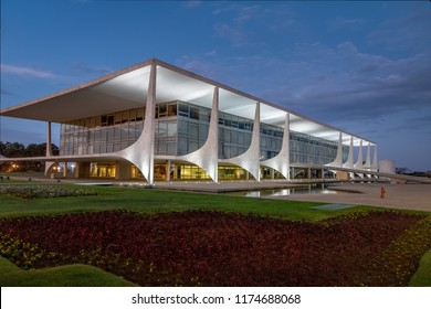 Brasilia, Brasil - Aug 26, 2018: Planalto Palace at night - Brasilia, Distrito Federal, Brazil