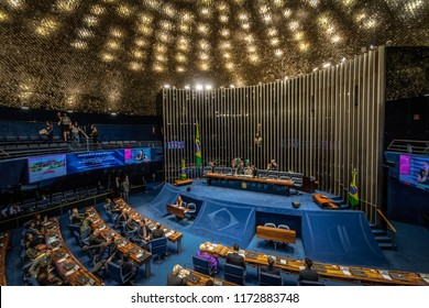 Brasilia, Brasil - Aug 27, 2018: Federal Senate Plenary Chamber at Brazilian National Congress - Brasilia, Distrito Federal, Brazil
