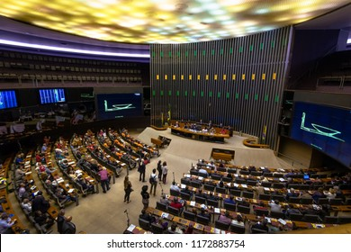 Brasilia, Brasil - Aug 27, 2018: Chamber of Deputies Plenary at Brazilian National Congress - Brasilia, Distrito Federal, Brazil