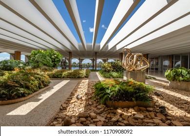 Brasilia, Brasil - Aug 29 2018: Terrace Gardens of Itamaraty Palace - Brasilia, Distrito Federal, Brazil