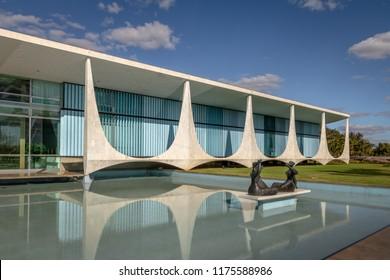 Brasilia, Brasil - Aug 29, 2018: Alvorada Palace and Iaras Sculpture by Ceschiatti - Brasilia, Distrito Federal, Brazil - Brasilia, Distrito Federal, Brazil