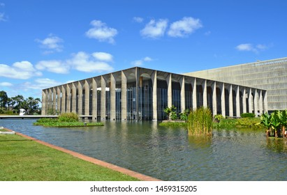 BRASILIA, BRASIL - AUGUST 10, 2015 - Itamaraty Palace (Palace of the Arches), is the headquarters of the Ministry of Foreign Affairs of Brazil, designed by Brazilian architect Oscar Niemeyer
