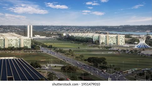 Brasilia, Brasil - Dec 07, 2020: Panoramic aerial view of Brasilia skyline with Congress building - Brasilia, Distrito Federal, Brazil