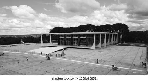 BRASILIA, BRAZIL, 31 MARCH, 2018, Brazilian Federal Court of Justice, Aerial View, Black and White