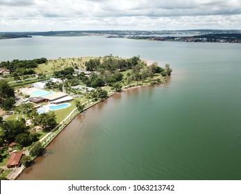 BRASILIA, BRAZIL, 31 MARCH, 2018, North Lake Neighborhood, Congress Club, Aerial View