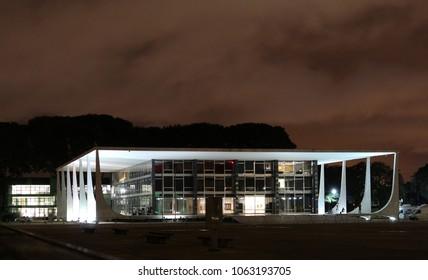 BRASILIA, BRAZIL, APRIL, 06, 2018, Brazilian Federal Court of Justice, STF, at night