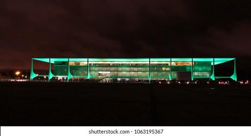 BRASILIA, BRAZIL, APRIL, 06, 2018, Planalto Palace at night