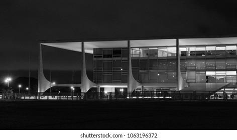 BRASILIA, BRAZIL, APRIL, 06, 2018, Planalto Palace black and white, at night