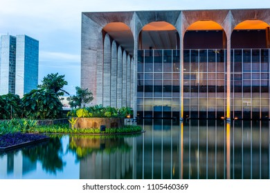 Brasilia, Brazil - April 16, 2018: The Itamaraty Palace. Designed by Oscar Niemeyer and inaugurated in 1970, the Itamaraty Palace is the headquarters of the Ministry of Foreign Affairs.