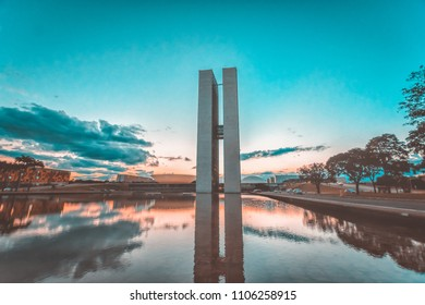 Brasilia Brazil. April 2018. Calm on the outside of the Brazilian National Congress during the truckers strike with a beautiful sunset