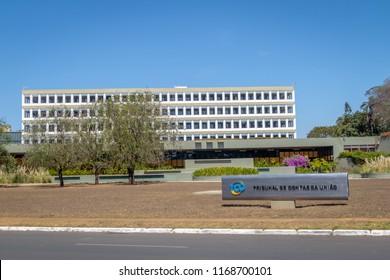 Brasilia, Brazil - Aug 24, 2018: Federal Court of Accounts the Brazilian federal accountability office (Tribunal de Contas da Uniao - TCU) - Brasilia, Brazil