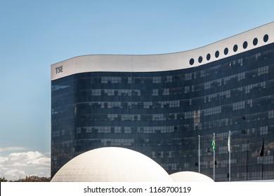 Brasilia, Brazil - Aug 24, 2018: Brazil Superior Electoral Court (Tribunal Superior Eleitoral - TSE) Building - Brasilia, Brazil