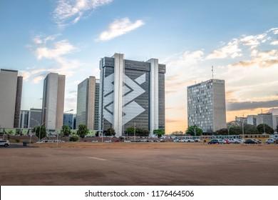 Brasilia, Brazil - Aug 24, 2018: Banco do Brasil headquarters building at sunset - Brasilia, Distrito Federal, Brazil