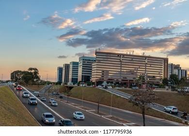 Brasilia, Brazil - Aug 24, 2018: Brasilia Buildings at sunset  - Brasilia, Distrito Federal, Brazil