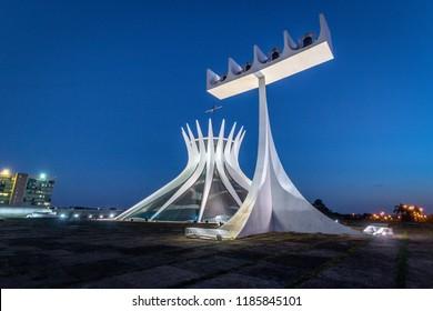 Brasilia, Brazil - Aug 24, 2018: Brasilia Cathedral at night - Brasilia, Brazil