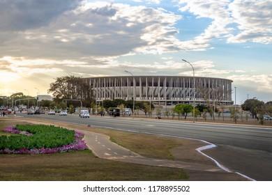 Brasilia, Brazil - Aug 25, 2018: Mane Garrincha Stadium - Brasilia, Distrito Federal, Brazil