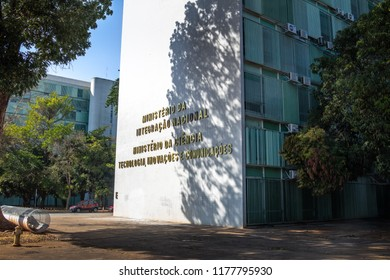 Brasilia, Brazil - Aug 26, 2018: Ministry of National Integration and Ministry of Science, Technology, Innovation and Communication building - Brasilia, Distrito Federal, Brazil