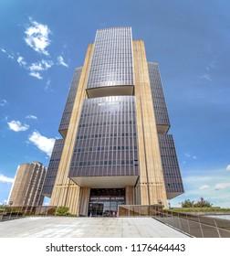 Brasilia, Brazil - Aug 27, 2018: Central Bank of Brazil headquarters building - Brasilia, Distrito Federal, Brazil