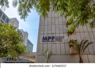 Brasilia, Brazil - Aug 27, 2018: Federal Prosecution Service - Ministerio Publico Federal - MPF - Brasilia, Distrito Federal, Brazil