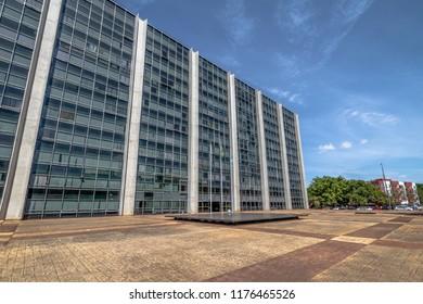 Brasilia, Brazil - Aug 27, 2018: Federal Police of Brazil headquarters - Policia Federal - PF - Brasilia, Distrito Federal, Brazil