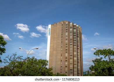 Brasilia, Brazil - Aug 27, 2018: Caixa Economica Federal Bank headquarters - Brasilia, Distrito Federal, Brazil