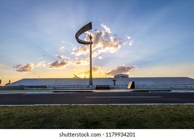 Brasilia, Brazil - Aug 27, 2018: Memorial JK - Juscelino Kubitschek Memorial at sunset - Brasilia, Distrito Federal, Brazil