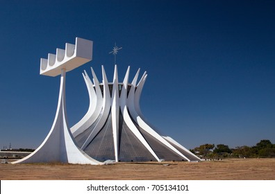 """Brasilia, Brazil. august 2017. The Cathedral of Brasilia: """"Metropolitan Cathedral of Our Lady of Aparecida""""."""