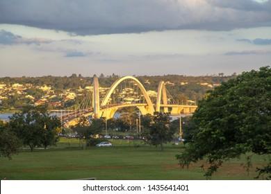 Brasilia, Brazil, August 7, 2019: The image of the JK Bridge at dusk, connecting Lago Sul, Paranoá and São Sebastião to the center of Brasilia, through the monumental axis, crossing Paranoá Lake