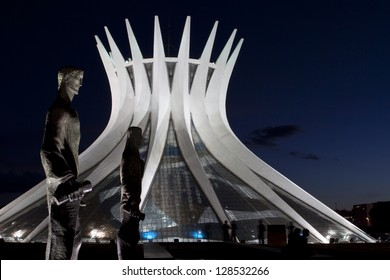 BRASILIA, BRAZIL - FEBRUARY 21: Cathedral of Brasilia at night on February 21, 2009 in Brasilia, Brazil. It was designed by Oscar Niemeyer, and was completed and dedicated on May 31, 1970.