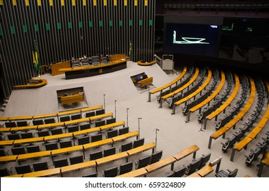 Brasilia, Brazil - February 3: View of inside of Chamber of Deputies of Brazil. Federal legislative body and the lower house of the National Congress of Brazil.