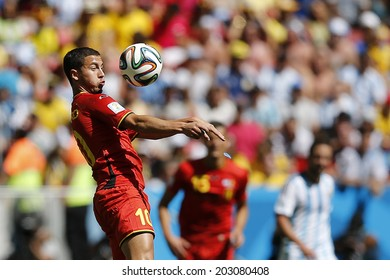 BRASILIA, BRAZIL - JULY 05, 2014: Hazard of Belgium during the World Cup Quarter-finals game between Argentina and Belgium in the Estadio Nacional. NO USE IN BRAZIL.