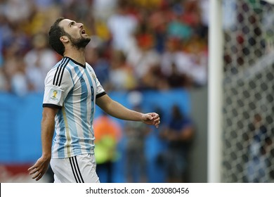 BRASILIA, BRAZIL - JULY 05, 2014: Higuaine of Argentina during the World Cup Quarter-finals game between Argentina and Belgium in the Estadio Nacional. NO USE IN BRAZIL.