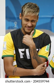 BRASILIA, BRAZIL - JULY 12, 2014: Neymar of Brazil during the World Cup Third place game between Brazil and the Netherlands in the Estadio Nacional. NO USE IN BRAZIL.