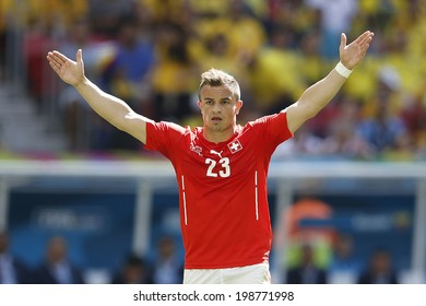 BRASILIA, BRAZIL - June 15, 2014: Shaqiri of Switzerland during the 2014 World Cup Group Group E game between Switzerland and Ecuador at Estadio Nacional Mane Garrincha. No Use in Brazil.